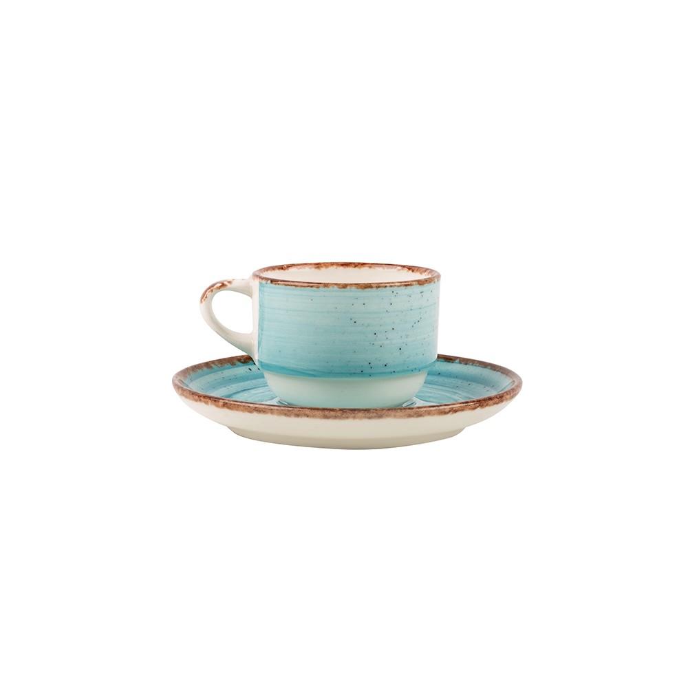 Taza de café con plato de porcelana Eo Tourquoise