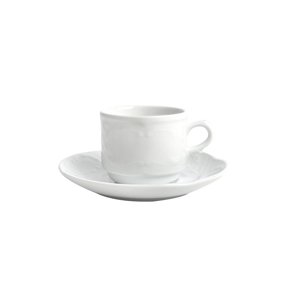 Taza de café con plato de porcelana Flora
