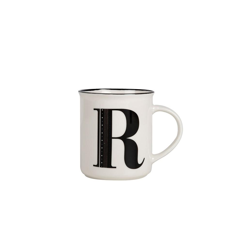 Taza de cerámica vintage con letra R