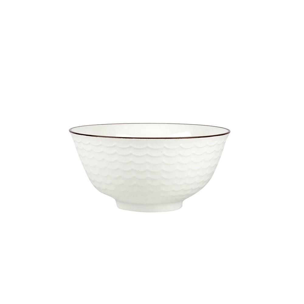 Bol de cerámica blanca con relieve