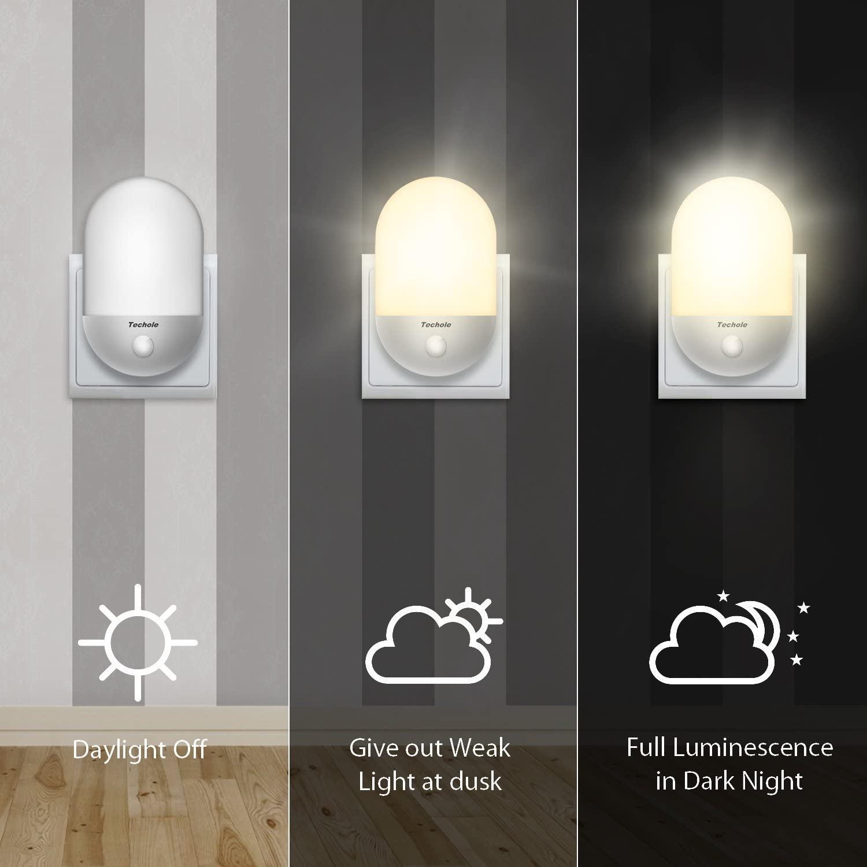 Luz Nocturna Infantil, Techole Lampara Nocturna Enchufe con Sensor de Luz Automático